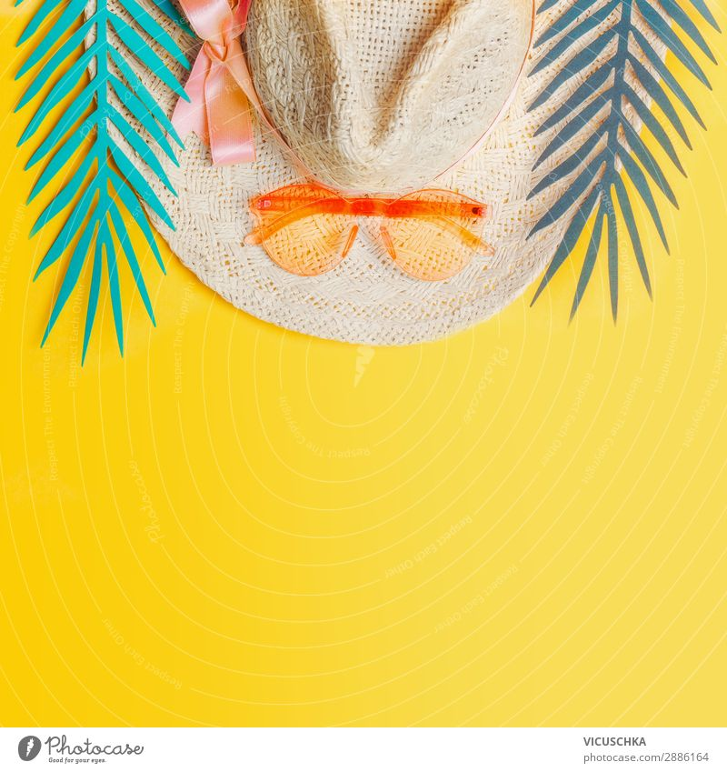 Straw hat with sunglasses and tropical leaves Style Joy Relaxation Vacation & Travel Summer Beach Nature Leaf Accessory Sunglasses Hat Hip & trendy Yellow