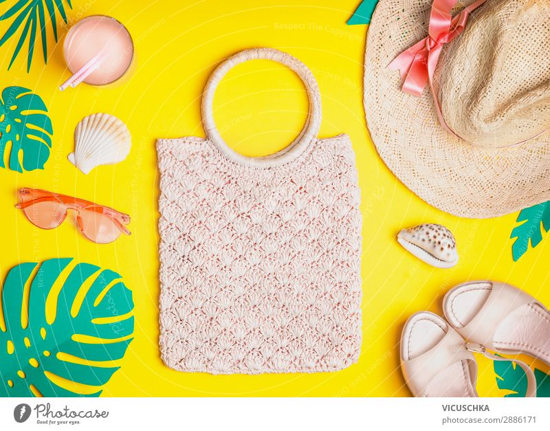 Summer female outfit Style Design Vacation & Travel Summer vacation Beach Nature Clothing Accessory Bag Sunglasses Footwear Hat Yellow Beautiful Cocktail