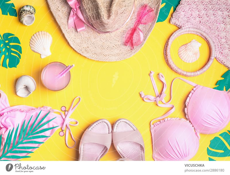 Vacation & Travel Summer Beach Background picture Yellow Feminine Fashion Pink Design Footwear Clothing Summer vacation Hat Turquoise Sunglasses Bikini