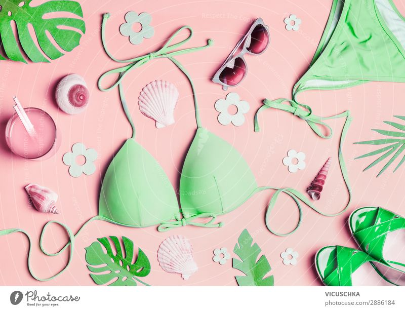 Green bikini and accessories for beach holidays Longdrink Cocktail Shopping Style Design Relaxation Vacation & Travel Summer Summer vacation Sunbathing Beach