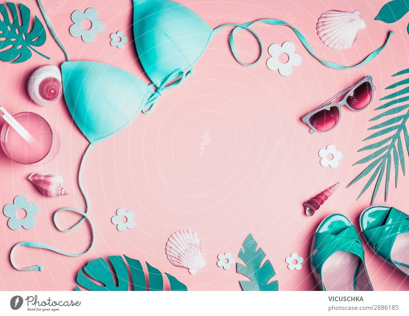 Vacation & Travel Nature Summer Leaf Beach Background picture Feminine Pink Design Footwear Clothing Shopping Summer vacation Hip & trendy Turquoise Sunglasses