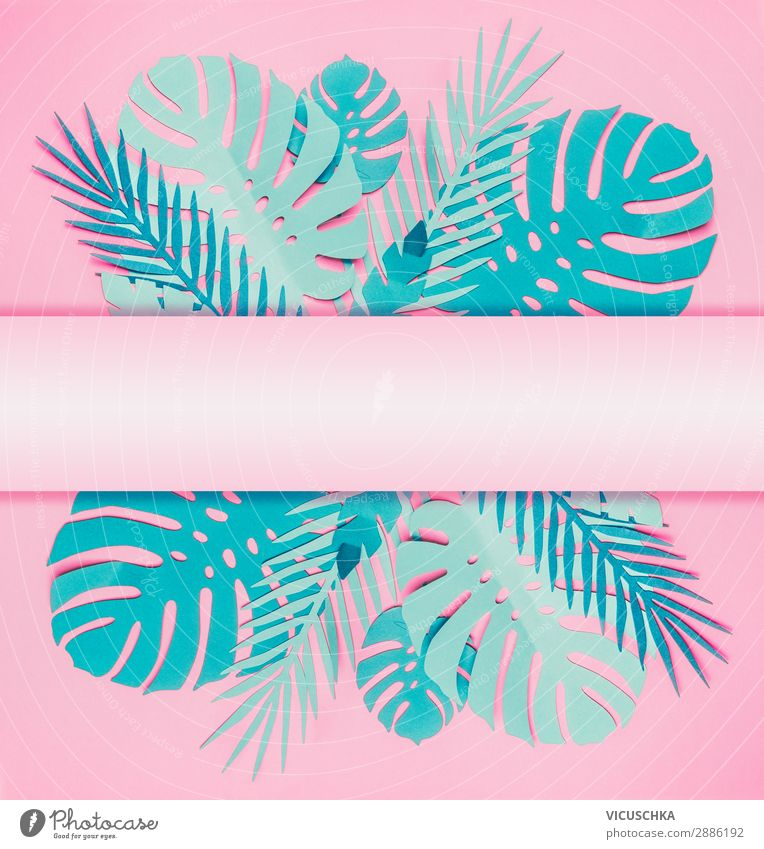Various turquoise blue tropical leaves Style Design Summer Nature Leaf Paper Decoration Flag Hip & trendy Pink Background picture Poster Tropical Palm frond