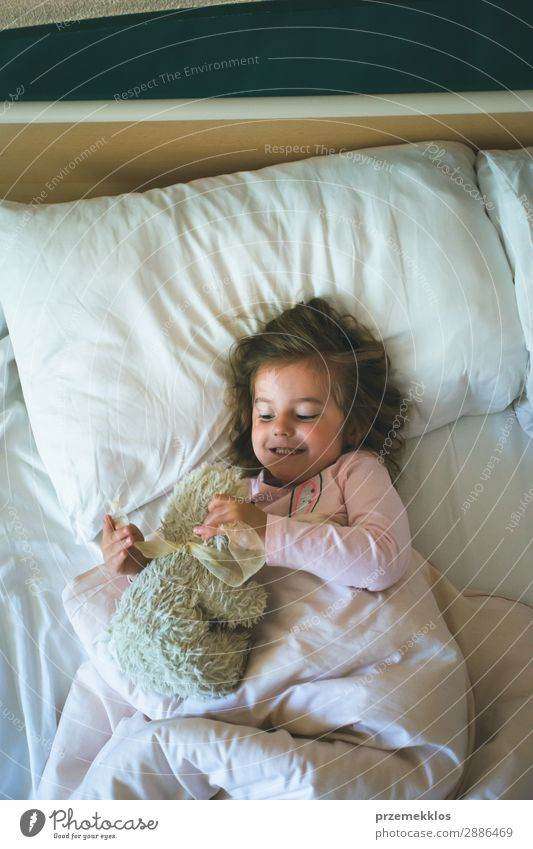 Little girl lying in a bed with teddy bear at the morning Happy Beautiful Playing Child Human being Woman Adults Toys Teddy bear Sleep Happiness Small Cute Bear