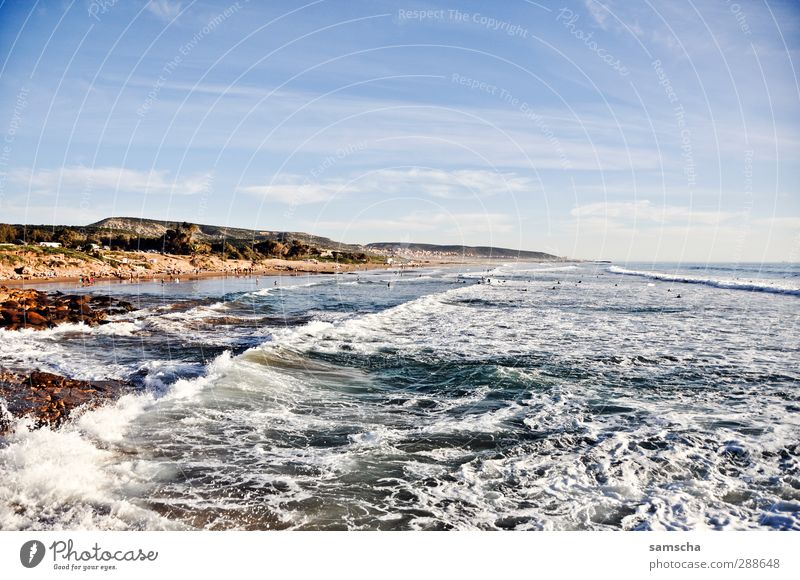 Nature Vacation & Travel Water Summer Ocean Beach Landscape Far-off places Environment Coast Swimming & Bathing Horizon Waves Beautiful weather Adventure Bay