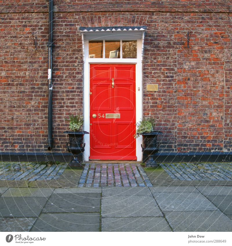Red House (Residential Structure) Wall (building) Wall (barrier) Door Facade Living or residing Entrance England Mailbox English Eaves Gaudy Tub Front door Name plate
