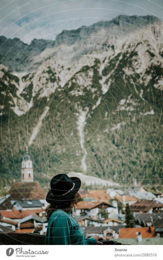 Woman with hat looking out over mountain town Lifestyle Style Vacation & Travel Tourism Trip Adventure Far-off places Freedom City trip Summer Summer vacation