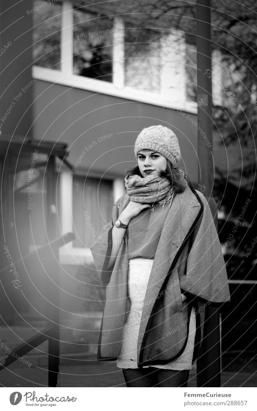 French. Feminine Young woman Youth (Young adults) Woman Adults 18 - 30 years Resolve Uniqueness Pride Chic Cape Coat Skirt Scarf Winter Autumnal