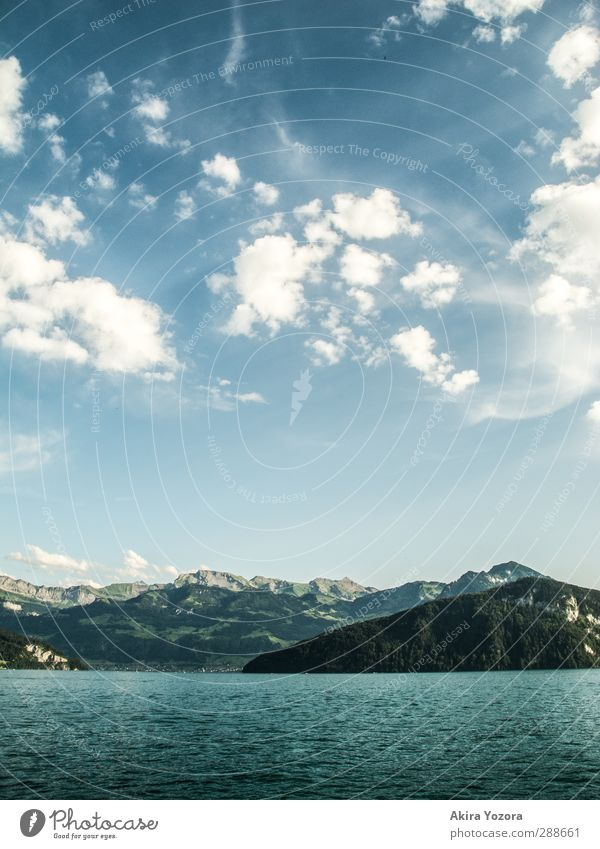 Where heaven, mountains and water meet. Landscape Air Water Sky Clouds Summer Beautiful weather Alps Mountain Snowcapped peak Lake Lake Lucerne Touch Relaxation