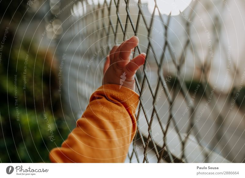 baby hand on fence Lifestyle Child Baby Toddler Girl Hand 1 Human being 1 - 3 years Balcony Discover Curiosity Town Orange Protection Design Loneliness Colour