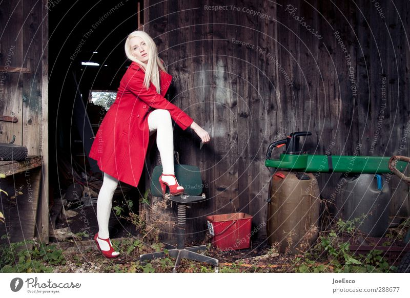 #248542 Style Living or residing Garden Work and employment Woman Adults Life 1 Human being Fashion Coat High heels Blonde Looking Stand Authentic Dark
