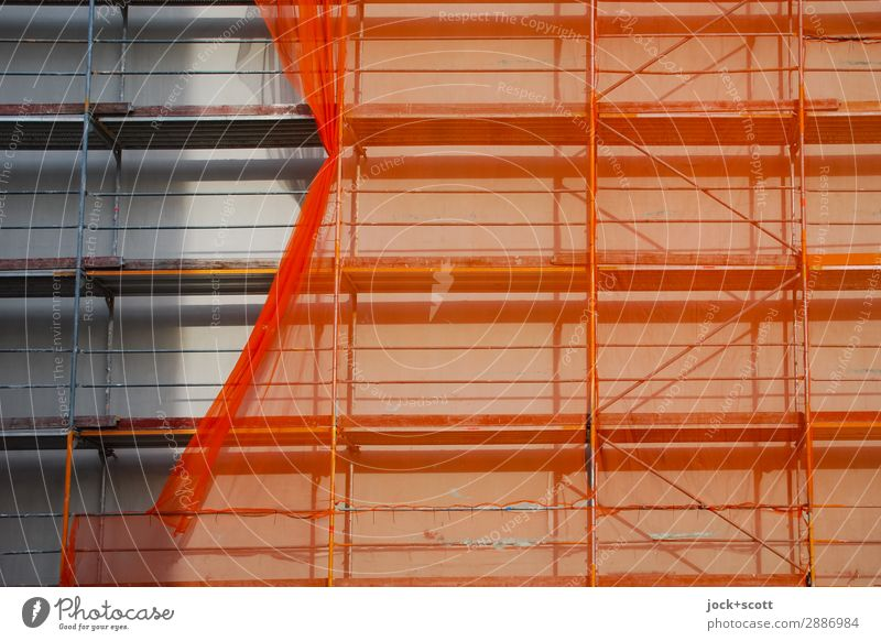 Suspended net on scaffolding Construction site Facade Scaffold Covers (Construction) Authentic Sharp-edged Orange Protection Change Shadow play Deferred