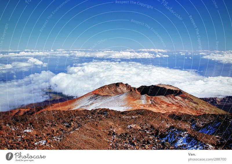 the world lies at our feet Nature Landscape Earth Sky Clouds Beautiful weather Snow Rock Mountain Volcano Volcanic crater Tenerife Hiking Tall Blue Red
