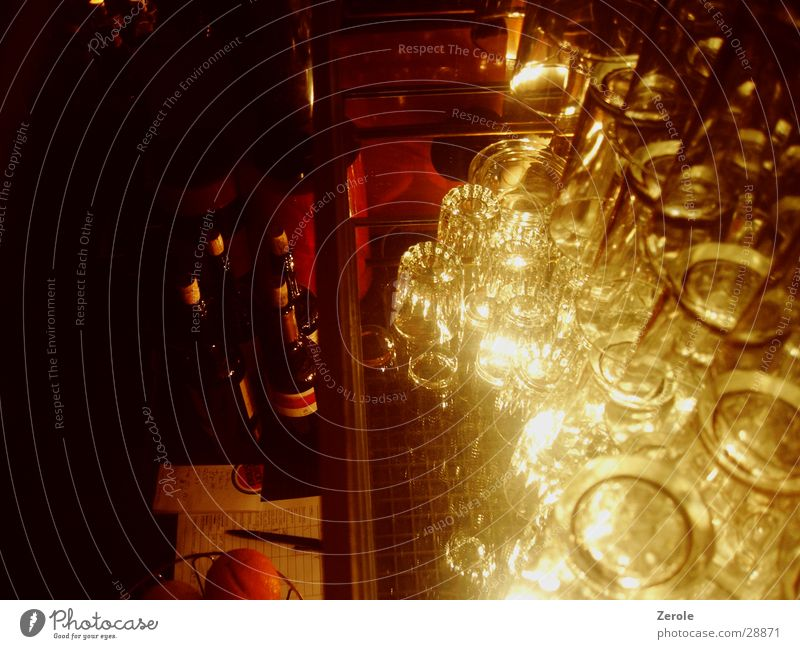 At the bar 2 Bar Glass Dark Photographic technology Bright Perspective Reflection Lighting Bottle of wine Wine Shelves Piece of paper Bird's-eye view Stack