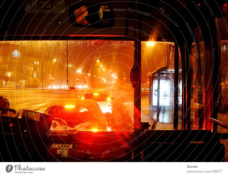 By bus Night Light Transport Bus Rain Street go with