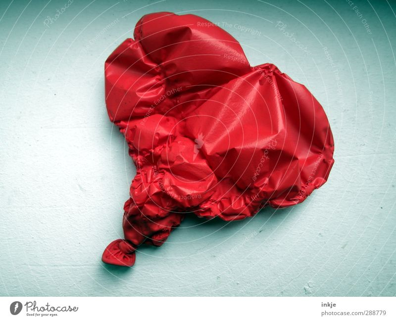 The air is out... Balloon Plastic Sign Heart Lie Sadness Broken Red Emotions Vice Love Infatuation Romance Lovesickness Variable Stress Relationship Kitsch