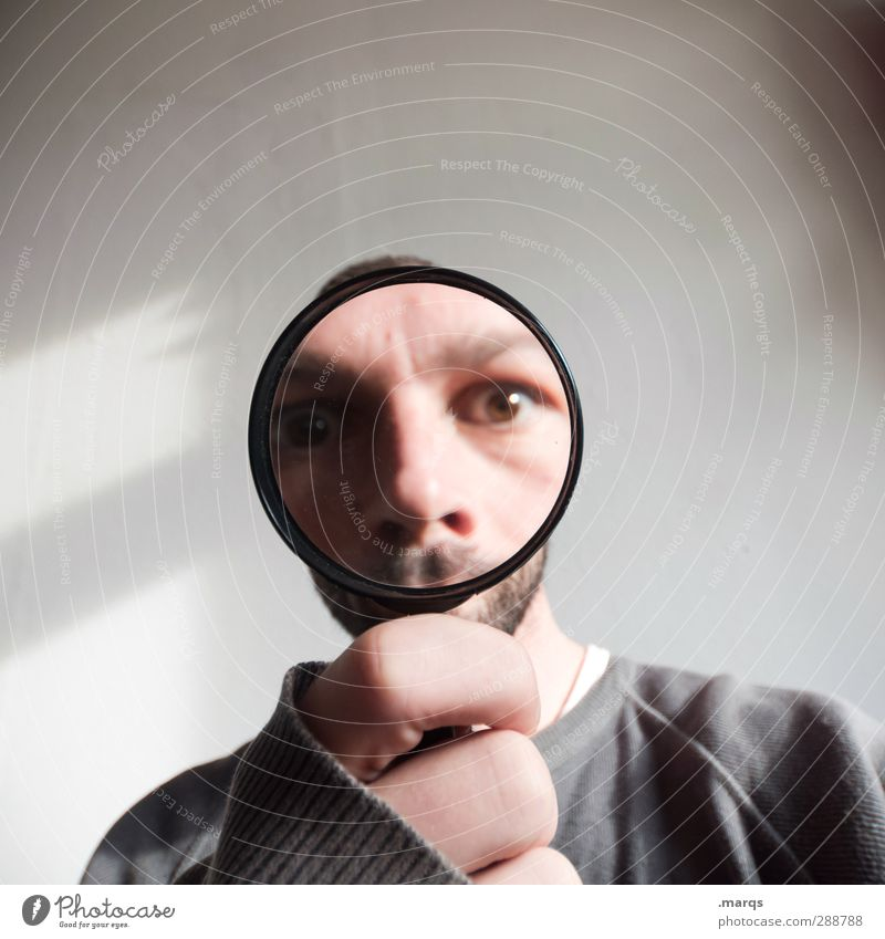 Human being Hand Adults Funny Head Exceptional Masculine Crazy Perspective Future Sign Search Whimsical Surprise Skeptical Magnifying glass