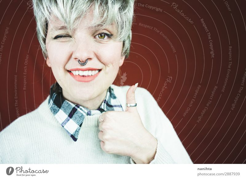 Beautiful and happy woman with gray hair Style Hair and hairstyles Face Relaxation Human being Feminine Androgynous Woman Adults Youth (Young adults) 1