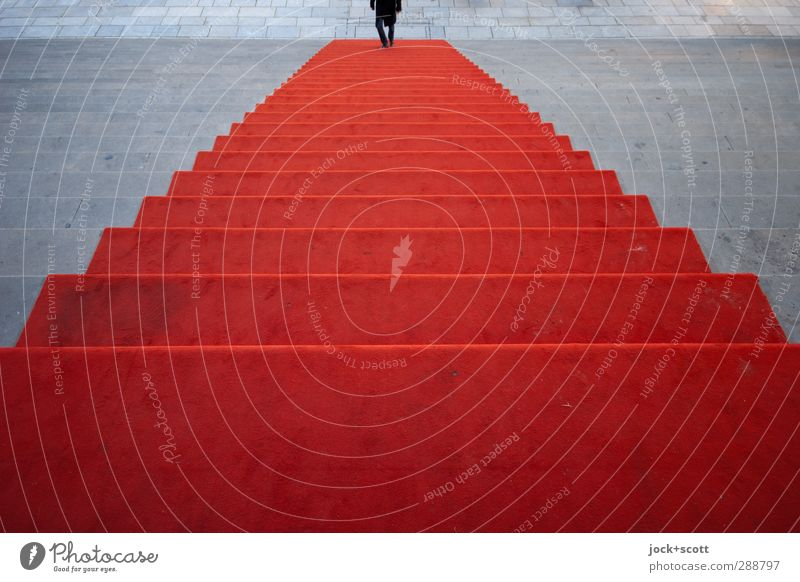 Stairs meet people Going Long Red Beginning Symmetry Lanes & trails Red carpet Go up Classic Reaction Pyramid Illusion Fantasy Abstract Silhouette