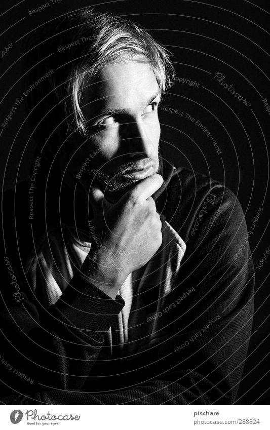 The Thinker (he thinks) Masculine Man Adults Blonde Designer stubble Dark Sharp-edged Black Calm Advice Concentrate Puzzle Black & white photo Interior shot