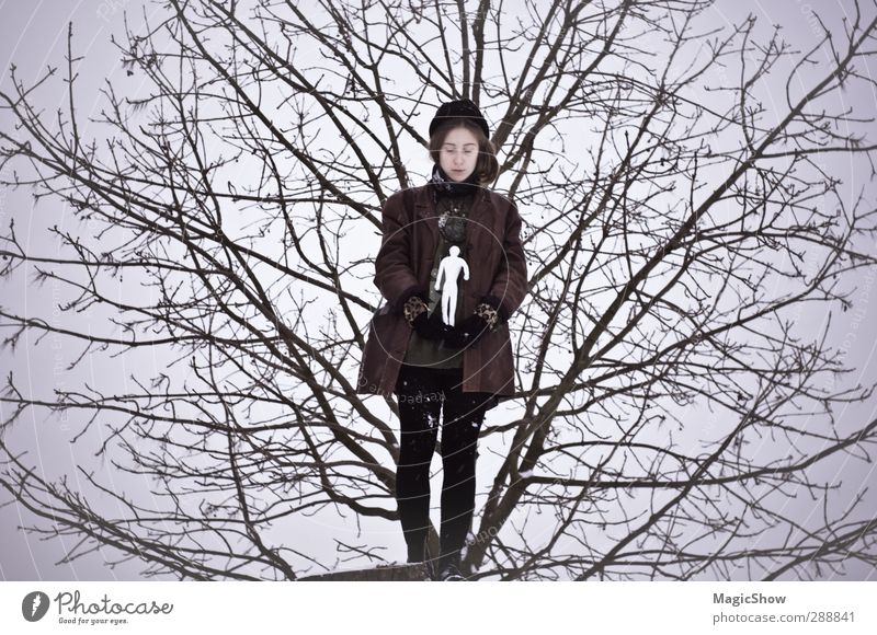 Human being Sky Nature White Girl Loneliness Winter Cold Life Sadness Think Dream Art Branch Tree trunk Treetop