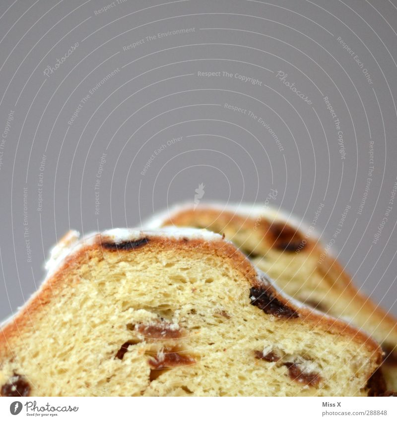 Mount Stollen Food Dough Baked goods Cake Nutrition Delicious Sweet Confectioner`s sugar Raisins Christmas biscuit Colour photo Close-up Deserted Copy Space top