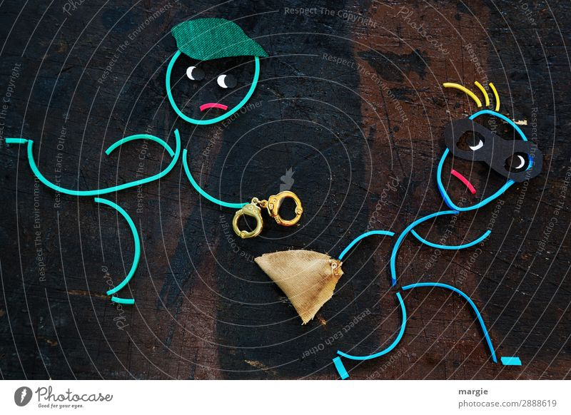 Rubber worms: no escape! Profession Human being Masculine Man Adults 2 Brown Anger Aggravation Force Risk Bans Mask Thief Theft Handcuff Sack Pursue Catch
