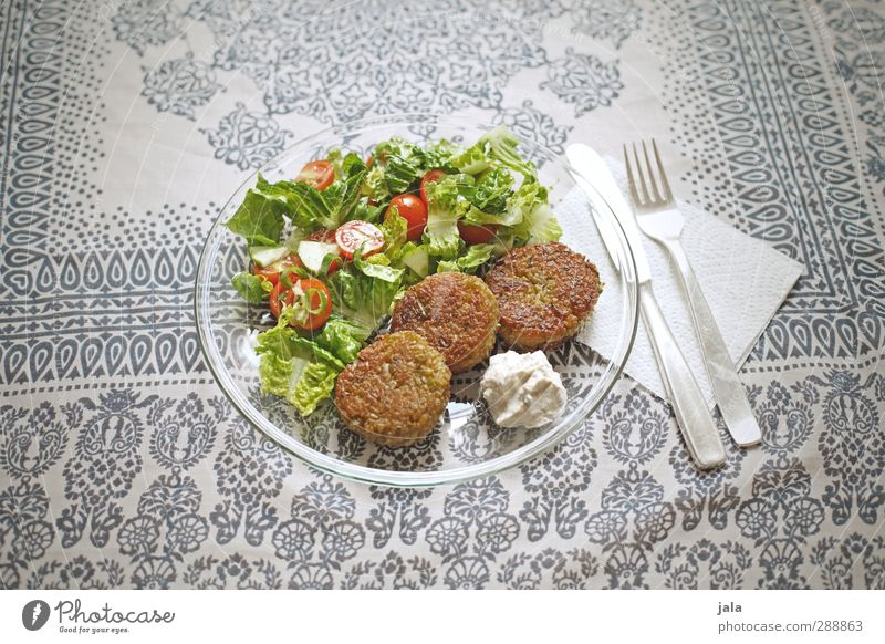 hungry? Food Vegetable Lettuce Salad bratlings Tomato Nutrition Lunch Organic produce Vegetarian diet Crockery Plate Cutlery Knives Fork Simple Delicious