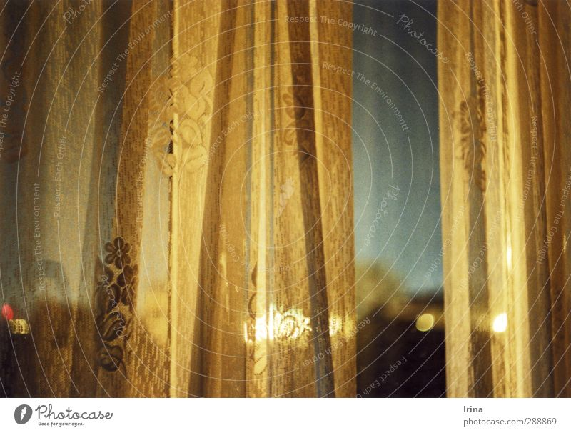 Cluj Napoca Turn the lights off Window Flat (apartment) Curtain Drape Blue Gold Gray Loneliness Living or residing Analog Looking Street lighting Colour photo