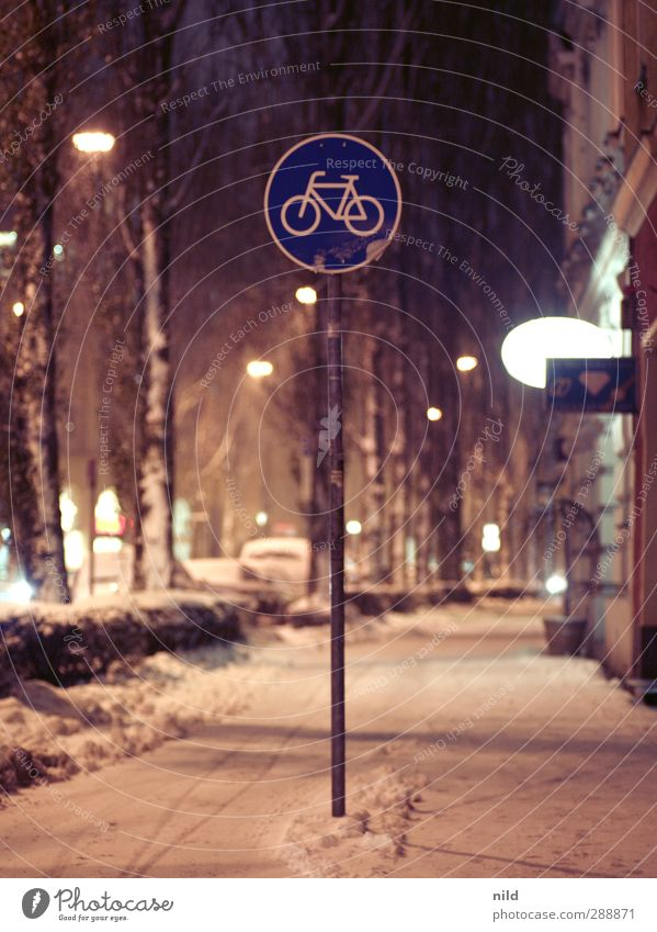 cycle path Cycling Winter Snow Snowfall Munich Town Facade Traffic infrastructure Street Road sign Cycle path Avenue Cold Smoothness Black ice