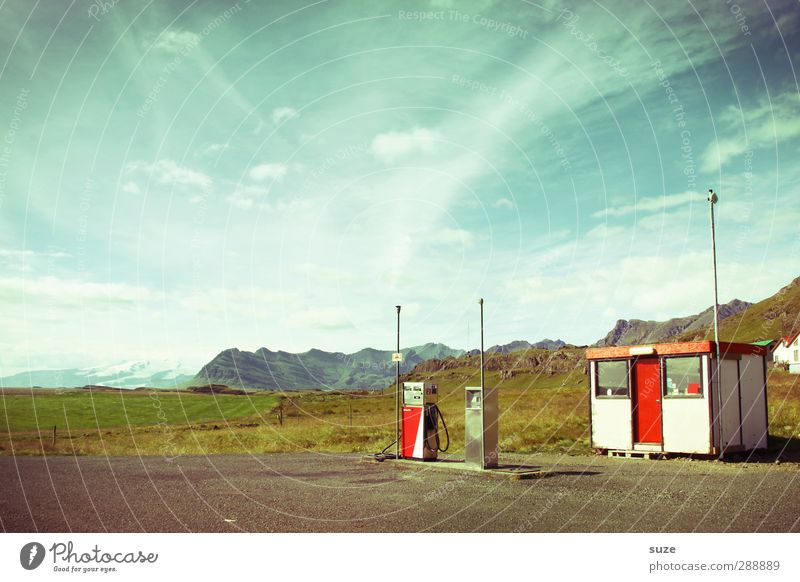 petrol station Environment Nature Elements Earth Sky Clouds Summer Beautiful weather Mountain Oil Old Exceptional Blue Loneliness Iceland Petrol station