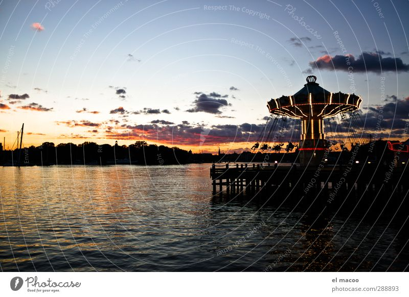 marry goes... Joy Going out Feasts & Celebrations Human being Amusement Park Carousel Water Clouds Night sky Sunrise Sunset Summer Beautiful weather Stockholm