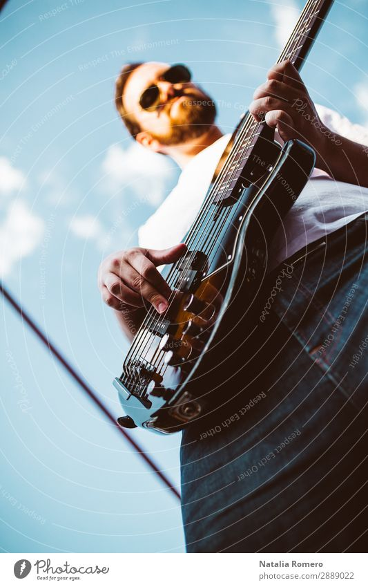 outdoor photo session with a bass player and his instruments Playing Entertainment Music Human being Man Adults Concert Band Musician Guitar Nature Rock Black
