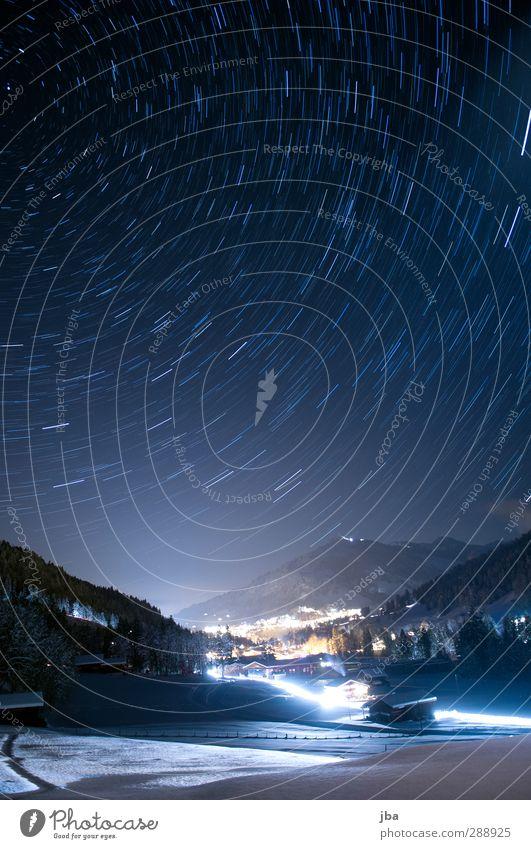 Winter Night II Snow Mountain Nature Landscape Sky Clouds Night sky Stars Beautiful weather Alps Peak Gstaad Saanenland Switzerland