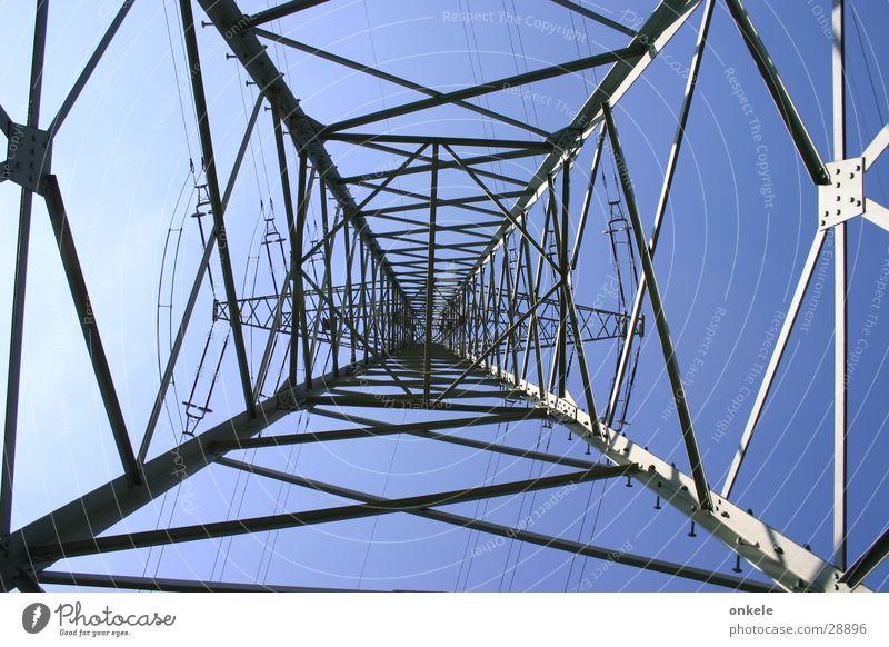 upward Electricity Electricity pylon Steel Gray Industry Upward lattice mast Energy industry Transmission lines Blue