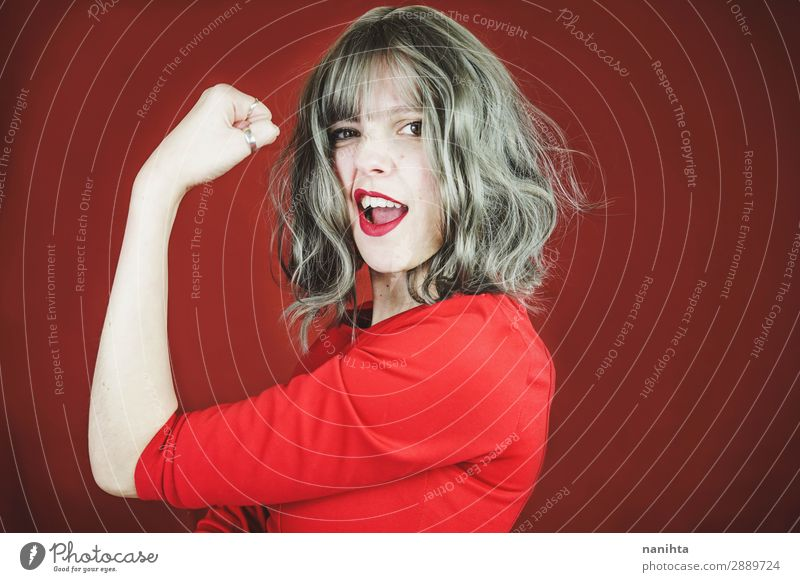 Young expressive woman in a classic feminist image Lifestyle Style Beautiful Hair and hairstyles Face Lipstick Wellness Well-being Success Human being Feminine