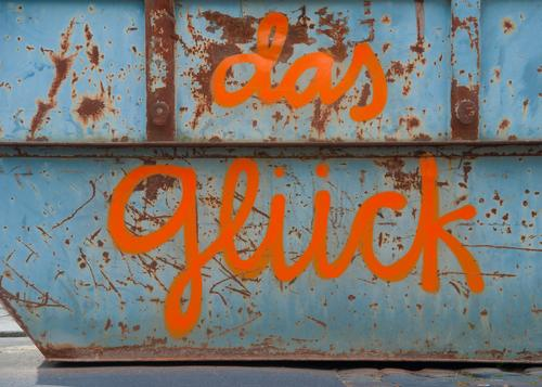 good luck Blue Joy Graffiti Happy Style Art Exceptional Orange Moody Metal Characters Happiness Creativity Uniqueness Construction site Belief