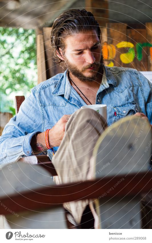 Human being Man Relaxation Playing Garden Feet Sit Table Beverage Cool (slang) Break Reading Coffee Drinking Chair Facial hair