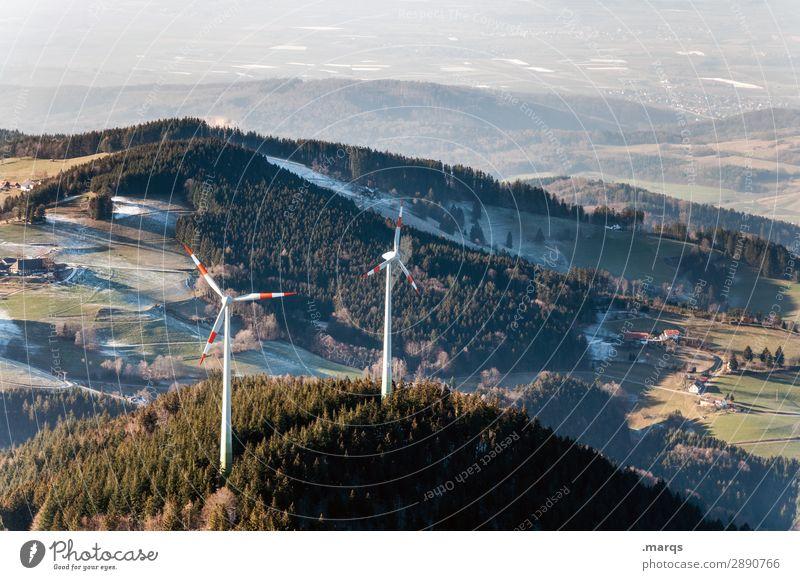 Winter Wind Power Tourism Technology Renewable energy Wind energy plant Environment Nature Landscape Autumn Meadow Forest Hill Schauinsland Black Forest