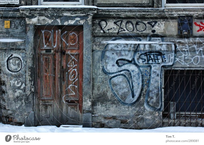 Berlin Prenzlauer Berg Germany Downtown Old town Deserted House (Residential Structure) Facade Door lower ground floor basement Graffiti Colour photo
