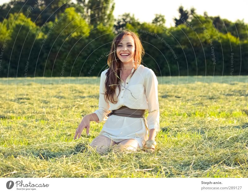 Touch a new day. Feminine Young woman Youth (Young adults) 1 Human being 13 - 18 years Child Summer Beautiful weather Tree Grass Meadow Dress Belt Brunette