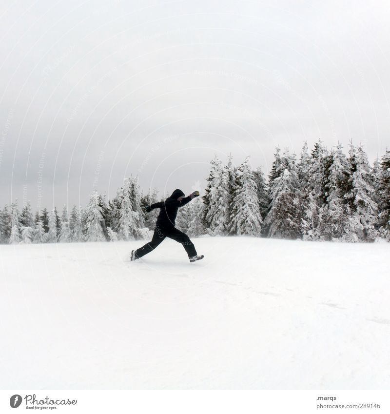winter sports Lifestyle Vacation & Travel Winter Snow Winter vacation Winter sports Human being Masculine Adults Nature Landscape Sky Tree Sign Running Jump