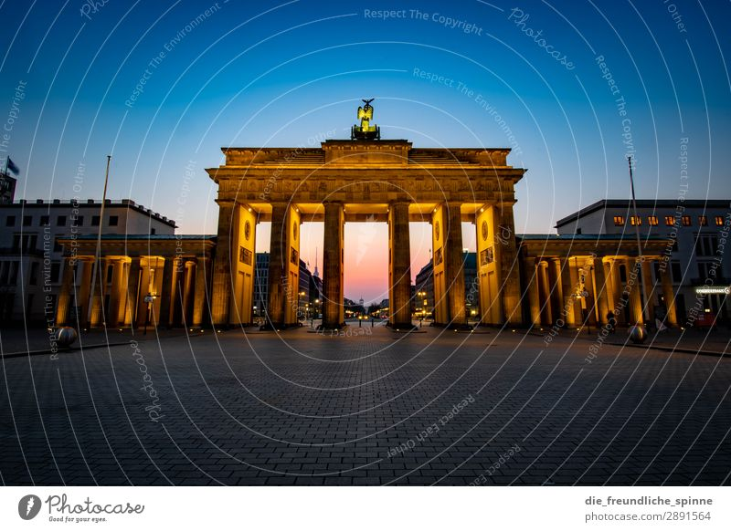 Morning sun in Berlin VI Cloudless sky Sunrise Sunset Germany Europe Town Capital city Downtown Deserted Tourist Attraction Landmark Brandenburg Gate