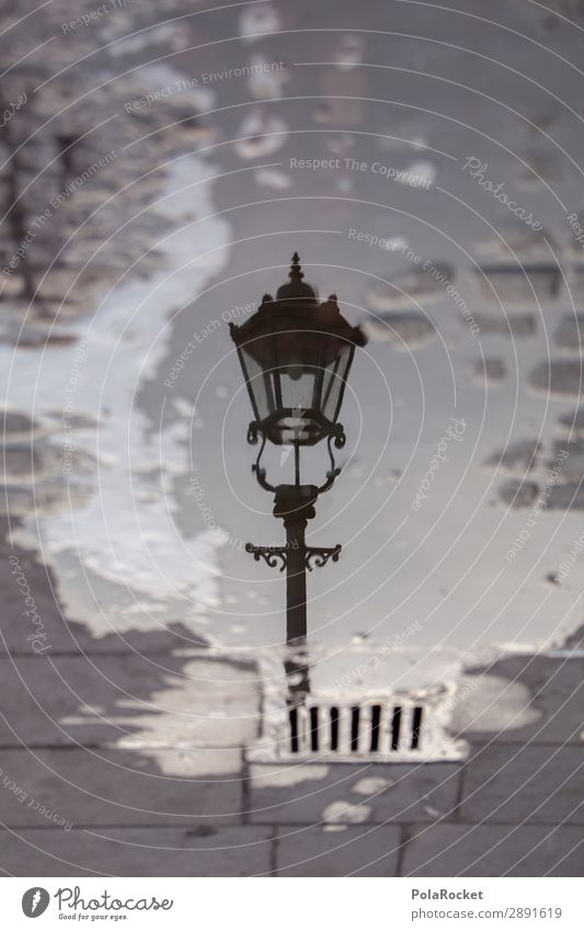 #A# LanternWater Art Work of art Esthetic Street lighting Lampion Lamp post Puddle Reflection Dresden Colour photo Subdued colour Exterior shot Detail