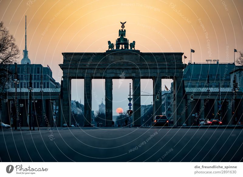 Morning sun in Berlin I Sky Cloudless sky Sun Sunrise Sunset Sunlight Spring Beautiful weather Germany Europe Town Capital city Downtown Skyline