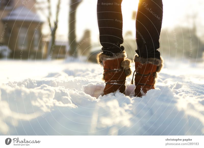 winter magic Winter Snow Winter vacation Feminine Legs Feet 1 Human being Beautiful weather Ice Frost Jeans Pelt Footwear Boots Hiking boots Relaxation Freeze