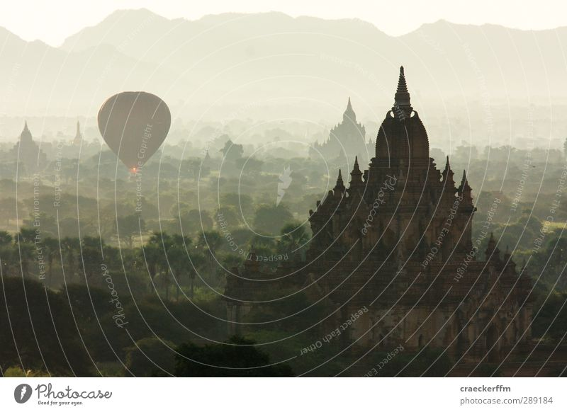 Bagan 2 Vacation & Travel Tourism Adventure Far-off places Freedom Sightseeing Sun Landscape Sunrise Sunset Sunlight Summer Beautiful weather Fog Hill Observe
