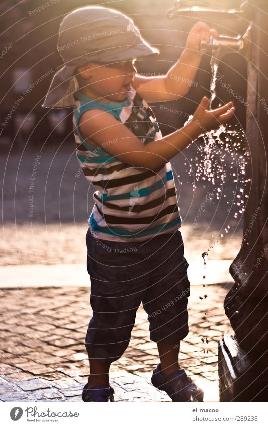 thirst for adventure Child Toddler Boy (child) Infancy 1 Human being 1 - 3 years Water Drops of water Sunrise Sunset Beautiful weather Warmth Village Port City