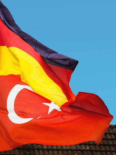 bilateral relationship, Germany - Turkey Cloudless sky Wind Flag Sign Turkish flag German Flag Communicate Authentic Success Together Honor Might Safety