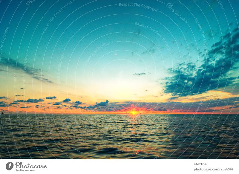 Over large pond Nature Landscape Water Sky Sun Sunrise Sunset Beautiful weather Ocean Lake Michigan Lake Esthetic Kitsch Wide angle Colour photo Exterior shot