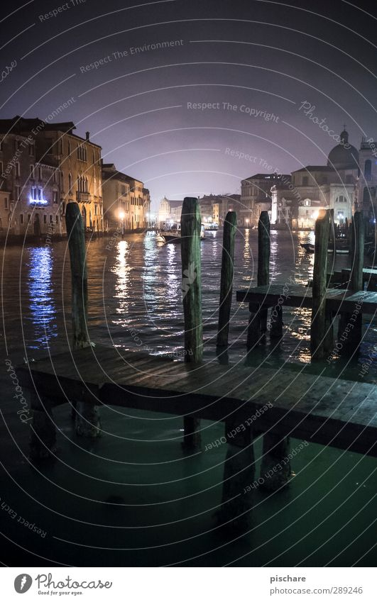 Venice River Town Old town Dome Building Tourist Attraction Longing Wanderlust Canal Grande Footbridge Italy Water Colour photo Exterior shot Deserted Night